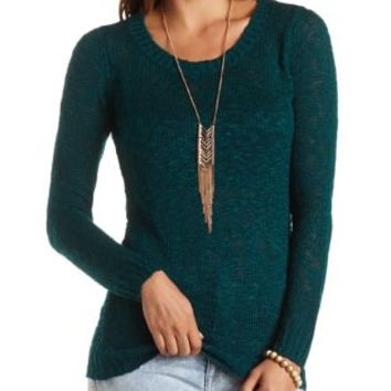 Pointelle Back Tunic Sweater by Charlotte Russe