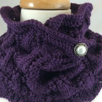 Neck Warmer Deep Purple White Pearl Button Hand Knit Caron Simply Soft