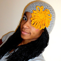 Crochet Linen Gray and Mustard Orange Fishnet Beret w/Flower