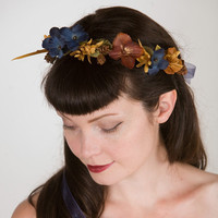 Fall Woodland Wedding Floral Head Wreath - Bridal Crown - Autumn Colors, Pinecones & Feathers