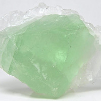 Green Fluorite crystal with Quartz crystal cluster topper Mineral Specimen mined in Mexico in the 1980's