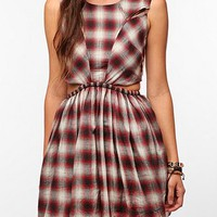 UNIF Plaid Kick Flip Cutout Dress