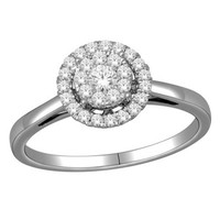 1/3 CT. T.W. Diamond Cluster Frame Engagement Ring in 10K White Gold