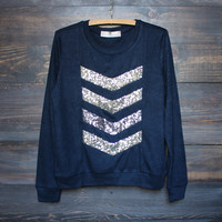 soft chevron sequin pull over, navy
