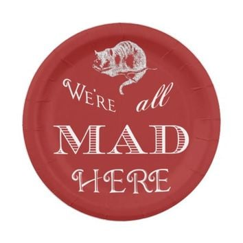 Cheshire Cat Mad Red Paper Plate