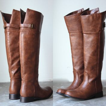 Rider's tall distressed riding boots - tan faux leather vegan brown cognac women's fall winter boots under $100 shoes shoegame