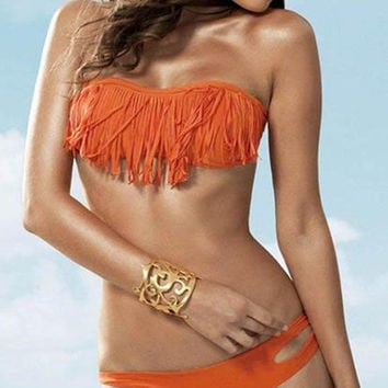 LARGE Orange Fringe Bikini