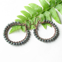 Beaded hoop earrings - wire wrapped copper with turquoise glass beads