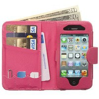 Manhattan Leather Wallet Case for iPhone 4G-Hot Pink: Cell Phones & Accessories