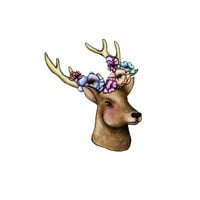 Deer with Floral Antlers temporary tattoo artist Amanda Whitelaw