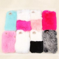Caselo Luxury Genuine Rex Rabbit Fur Case with Free Stylus and Free Protect Film for Iphone 5C White