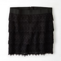 AEO Lace Tiered Mini Skirt, Black | American Eagle Outfitters