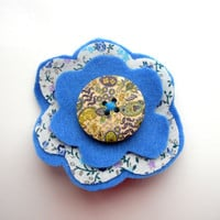 Handmade Felt and Fabric Flower Brooch