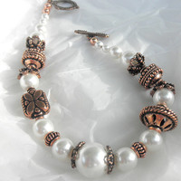 Antique Copper and White Pearls Feminine Bracelet The Beauty of White Pearls and  Antique Copper Bracelet for Her.