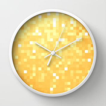 Golden Pixel Sparkle Wall Clock by 2sweet4words Designs | Society6