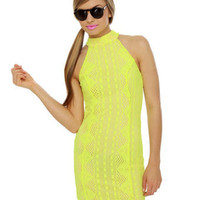 Adorable Neon Yellow Dress - Lace Dress - Halter Dress - $39.00