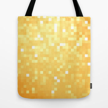 Golden Pixel Sparkle Tote Bag by 2sweet4words Designs