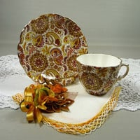 Vintage Teacup & Saucer Hammersley Chintz Brown Orange Yellow Paisley Bone China with Linen Hankie and Bird Corsage Pin Gift Set