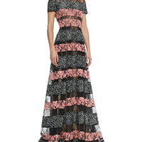 Bicolor Lace-Striped Gown, Black/Blush