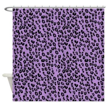 Purple Leopard Shower Curtain> Animal Print, Spotted Leopard> Strawberry and Hearts