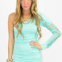 ONE SHOULDER DRESS WITH LACE - TILL MINT