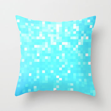 Turquoise Pixel Sparkle Throw Pillow by 2sweet4words Designs