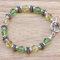 Crystal Beaded Bracelet, Peridot and Jonquil Swarovski Crystal Bracelet, Crystal and Sterling Silver Bracelet