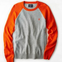 AEO Men's Colorblock Crew Sweater (Party Orange)