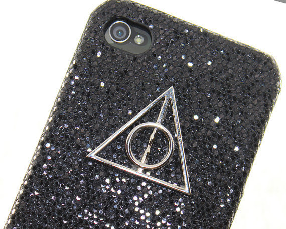 Deathly Hallows Harry Potter PU leather Shining Black  Hard Case for iPhone 4 Case, iPhone 4s Case, iPhone 4 Hard Case style A