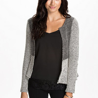 Peplum Jaquard Cardigan - Nly Trend - Black/White - Jumpers & Cardigans - Clothing - Women - Nelly.com