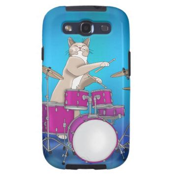 Cat Playing Drums - Samsung Galaxy S3 Tough Case