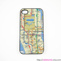 Manhattan Subway Map iPhone 4 Case, iPhone 4s Case, iPhone 4 Cover, Hard iPhone 4 Case - New York underground map