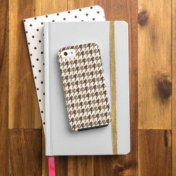 Allyson Johnson Classy Brown Houndstooth Cell Phone Case