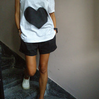 Hand Painted  T Shirt Black&White Love  / Loose Blouse / Casual / Summer Sale - 25 % Off