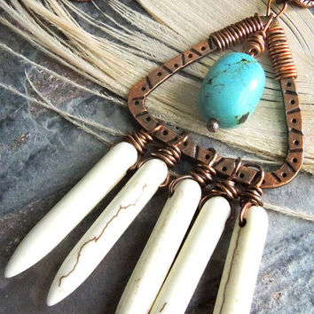 Turquoise Tribal Necklace, Copper Triangle Pendant, White Spikes, Southwestern Style