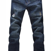 Men Dark Blue Straight Slim Repaired Jean/Pants With Mickey Printing S/M/L/XL/XXL/3XL/4XL@X304NH6S0N077