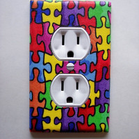 Autism Puzzle Pieces Outlet Plate