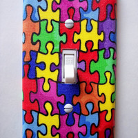 Autism Puzzle Pieces Single Toggle Switchplate