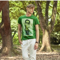 Men Tylers Pokemon Green Cotton Round Collar T-Shirt M / L / XL@W1640g