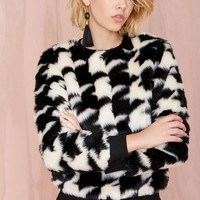 Glamorous Hound Out Faux Fur Sweatshirt