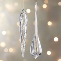 Glass Faceted Drop Icicle Ornament.
