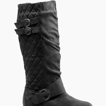 Quilted Suede Boots