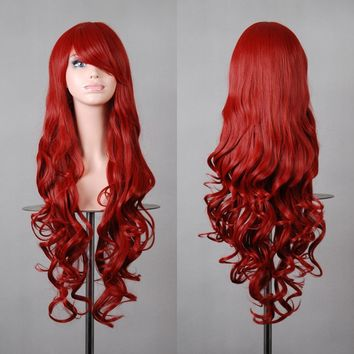 "Crazycity 32"" 80cm Long Hair Heat Resistant Spiral Curly Cosplay Wig with Free Wig Cap (80cm:Dark Red)"