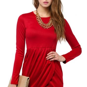 Sultry Long Sleeves Wrap Mini Dress - OASAP.com