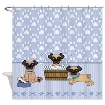Pug Dogs And Paw Prints - Blue Shower Curtain> Shower Curtains> SpiceTree Gift Shop