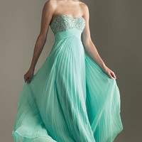 2011 Prom Dresses! Night Moves Heavenly Aqua Pleated Empire Waist Dress- Size 0-18 - Unique Vintage - Bridesmaid & Wedding Dresses