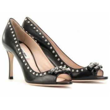 Miu Miu STUDDED LEATHER PEEP TOE PUMPS262.00