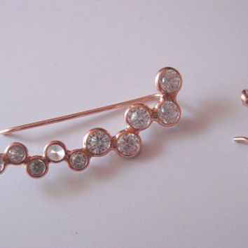 Earring ear pin sweep for piereced ear 925k Silver  Rosa Gold pl. with 10 pcs CZ stone  ER31 - FREE SHIPPING - Pair