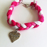 Pink and white braided friendship bracelet with princess heart charm, pink bracelet, braided bracelet, heart bracelet, stacking bracelet,