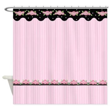 Floral Stripe Roses - Pink Shower Curtain> Shower Curtains> SpiceTree Gift Shop